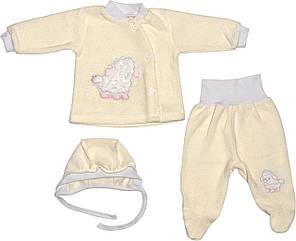 Теплий костюм на дівчинку зріст 56 0-2 міс для новонароджених малюків комплект дитячий махровий молочний