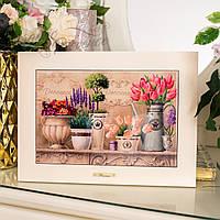 Картина из дерева и керамики Allicienti Лаванда и тюльпаны 28х38 см