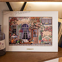 Картина из дерева и керамики Allicienti Рыжий кот и скамейка 28х38 см