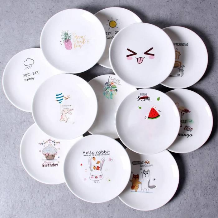 Керамическая тарелка блюдце 14 см стильный рисунок, набор 4шт.