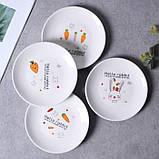 Керамическая тарелка блюдце 14 см стильный рисунок, набор 4шт., фото 2