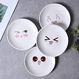 Керамическая тарелка блюдце 14 см стильный рисунок, набор 4шт., фото 3