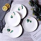 Керамическая тарелка блюдце 14 см стильный рисунок, набор 4шт., фото 4