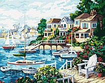 Картина по номерам Brushme Курортный город G170 Пейзаж Природа Вода горы лодка море