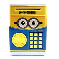 Детский сейф копилка для денег Миньон с кодовым замком и звуковыми эффектами