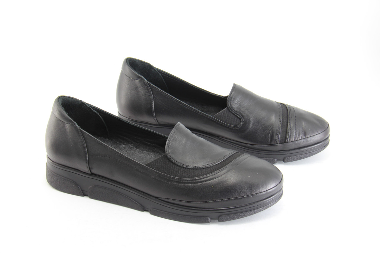 Туфли женские кожаные черные на танкетке Heya  1323-Y-075-SIYAH