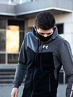 Спортивный костюм Under Armour мужской весенний осенний черно-серый   Кофта + Штаны Андер Армор ЛЮКС качества