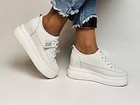 Farinni. Женские кеды-кроссовки белые на платформе. Натуральная кожа. Размер 37,38, 39, фото 3