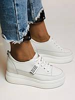 Farinni. Женские кеды-кроссовки белые на платформе. Натуральная кожа. Размер 37,38, 39, фото 2