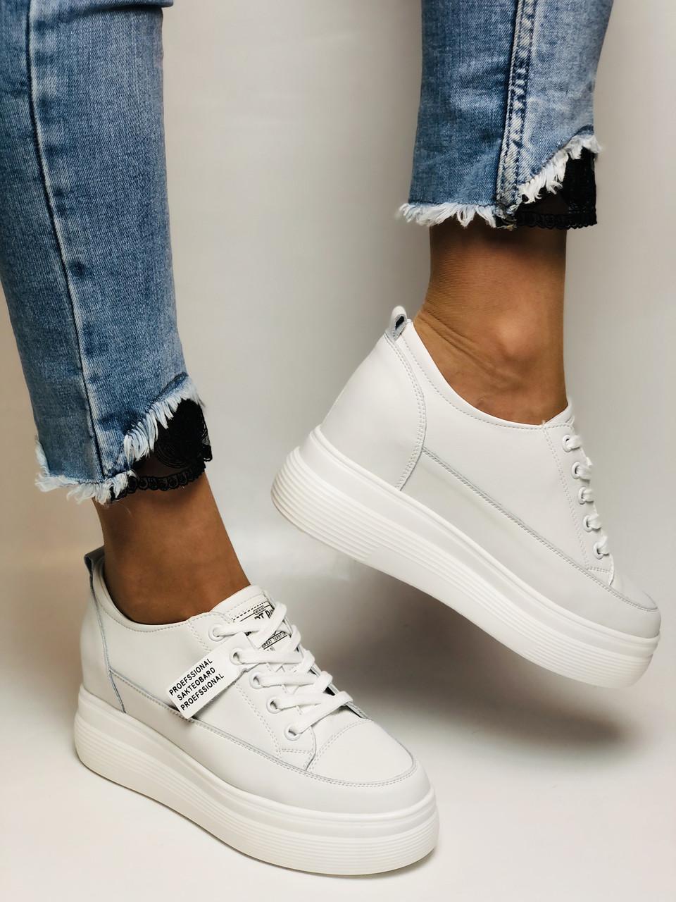 Farinni. Женские кеды-кроссовки белые на платформе. Натуральная кожа. Размер 37,38, 39