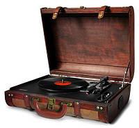 Проигрыватель для виниловых дисков пластинок с чемоданом разъемом для наушников Camry переносной