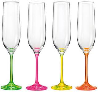 Набор бокалов для шампанского Bohemia Crazy Neon 4 шт 190 мл 40729 190S D4892