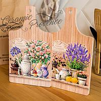 Набор (2шт) досок деревянных разделочных и декоративных Allicienti Кустовые розы и лаванда 18х32 см