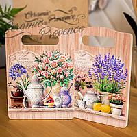 Набор (2шт) досок деревянных разделочных и декоративных Allicienti Кустовые розы и лаванда 14,5х20,5 см