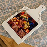 Кухонная доска из дерева и керамики для декора Allicienti Натюрморт Галкина В. 18х32 см