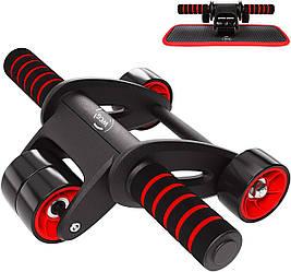 Ролик колесо тренажер для пресса  WCG  S1 + Коврик для коленей