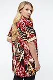 Блузка ТМ ALL POSA Марго бордовий/тигр 56 (100133) 58, фото 2