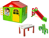 АКЦИЯ МЕГА НАБОР Средний игровой домик со шторками, пластиковая горка и столик со стульчиком ТМ Doloni