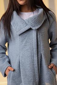 Нежное голубое шерстяное пальто-кардиган с карманами  размерах: S, M, L, XL.