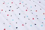 """Поплін шириною 240 см """"Трикутники: червоні, блакитні, сірі, сині"""" на білому тлі (№3315), фото 4"""