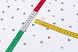 """Поплін шириною 240 см """"Трикутники: коричневі, сірі, сині"""" на білому тлі (№3314), фото 4"""