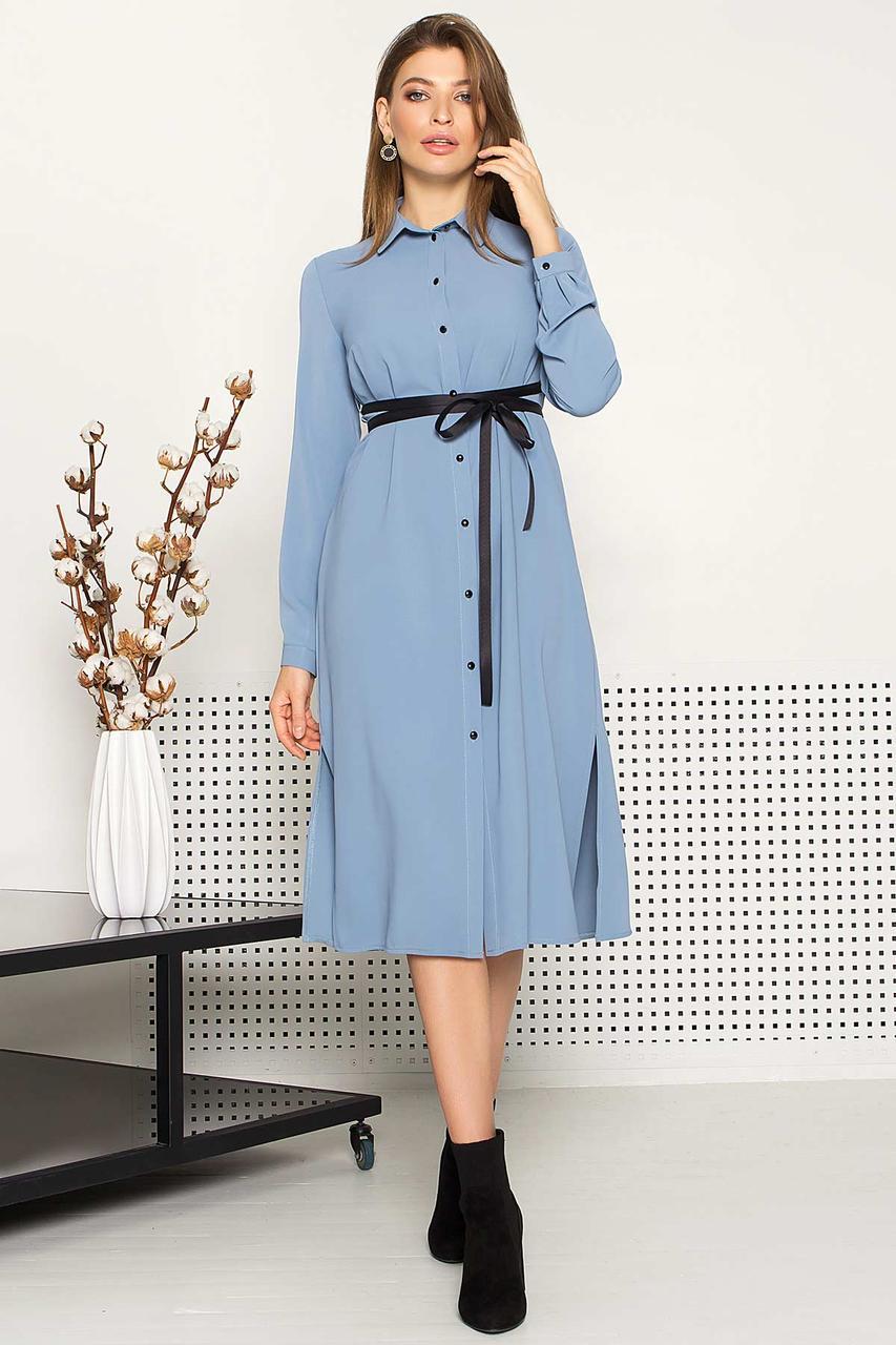 Жіноча сукня-сорочка блакитного кольору з 44 по 52 розмір