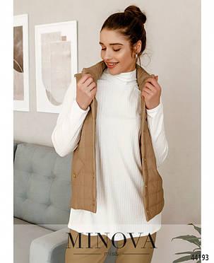 Класна бежева жилетка жіноча з еко-шкіри утеплена на силіконі, розмір від 42 до 48, фото 2