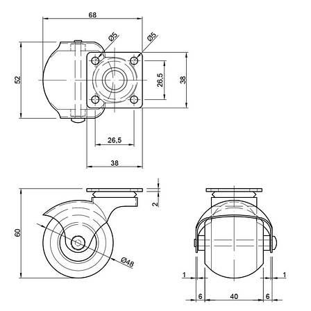 Ролик мебельный резиновый с площадкой d=50мм., фото 2
