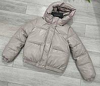 Женская зимняя куртка из эко-кожи Короткая женская кожаная курточка зима Дутая куртка еврозима Пуховик женский