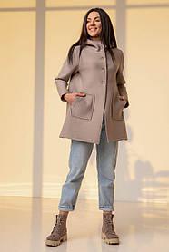 Пудрово-серый пиджак-кардиган на пуговицах с накладными карманами  размерах: S, M, L, XL.