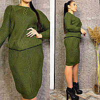 Костюм женский вязаный (юбка+свитер) с2 (50-56 универсал) (цвета: бежевый, черный, хаки) СП, фото 1