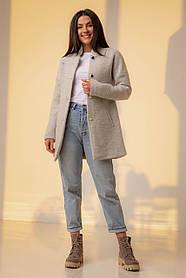 Шерстяное короткое серое пальто-кардиган с карманами в размере S, M.