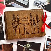 Оригинальный фотоальбом на подарок девушке, жене на годовщину | фотоальбом в деревянной обложке