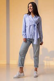 Хлопковая полосатая рубашка на запах на завязку в бант в 4 цветах в универсальном размере