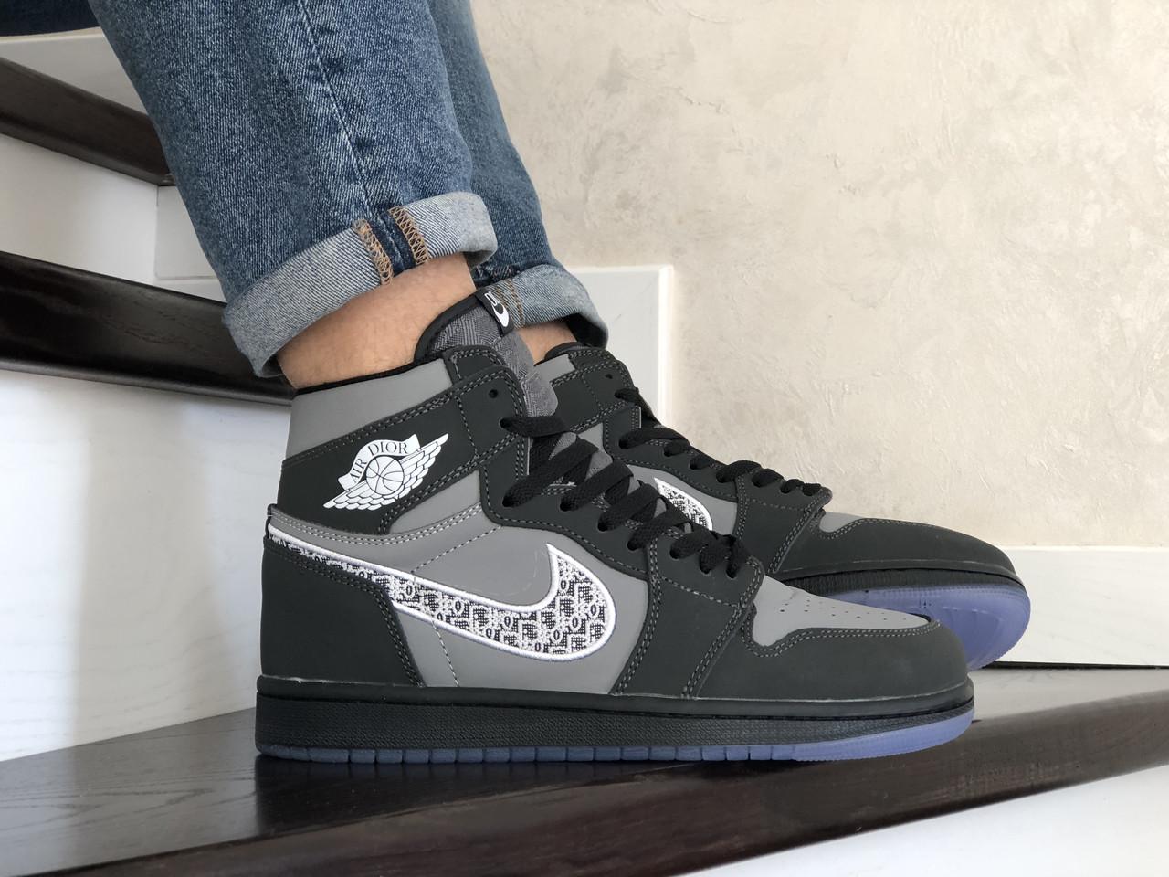 Мужские высокие кроссовки Nike Air Jordan Dior, черные / обувь для баскетбола (Топ реплика ААА+)