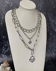 Массивная женская многослойная цепочка на шею с сердцем серебристая, широкое колье