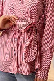 Хлопковая полосатая рубашка на запах на завязку в бант в 4 цветах в уникерсальном размере красный