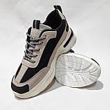 38 р. Весняні жіночі кросівки з еко-шкіри беж з чорним маломірки Остання пара, фото 3