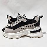 38 р. Весняні жіночі кросівки з еко-шкіри беж з чорним маломірки Остання пара, фото 6