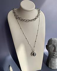 Женский чокер, двойная цепочка крупная с подвеской шариком серебро