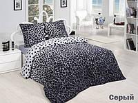 Трикотажное постельное бельё с простыней на резинке ACELYA серый леопард