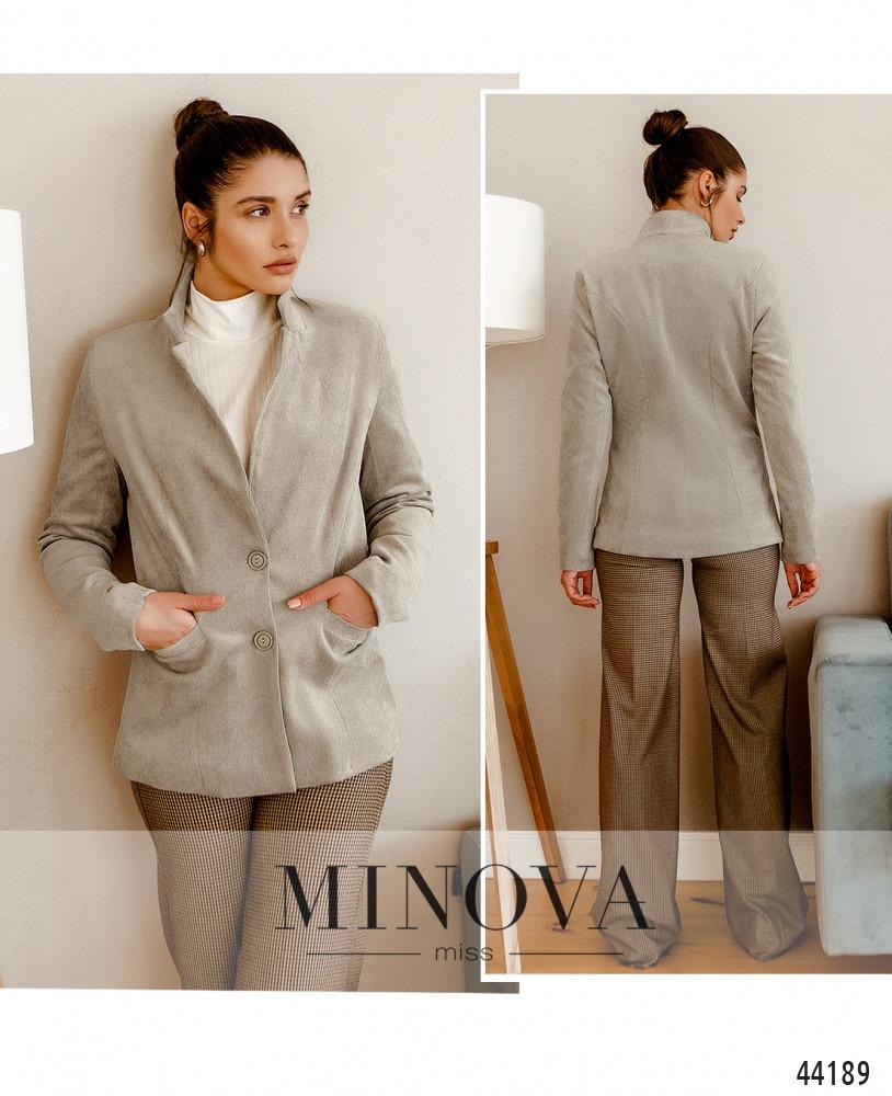 Красивый женский пиджак новинка 2021 из вельвета  бежевого цвета, размер 42, 44, 46, 48