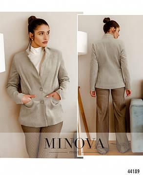 Красивый женский пиджак новинка 2021 из вельвета  бежевого цвета, размер 42, 44, 46, 48, фото 2