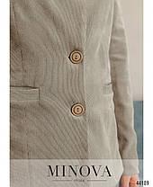 Красивый женский пиджак новинка 2021 из вельвета  бежевого цвета, размер 42, 44, 46, 48, фото 3