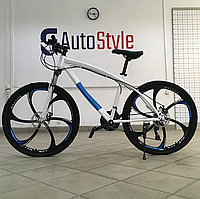 """Стальний Велосипед на литих дисках 26"""" BMW рама 17"""" Біло-синій"""