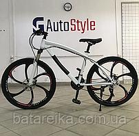 """Стальний Велосипед на литих дисках 26"""" BMW рама 17"""" Біло-чорний"""