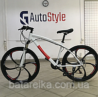 """Стальний Велосипед на литих дисках 26"""" BMW рама 17"""" Біло-червоний"""