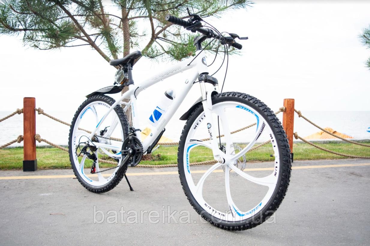 """Велосипед Алюминиевый на литых дисках 26"""" BMW рама 17"""" Белый"""