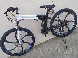 """Складний Велосипед на литих дисках 26"""" Mercedes Benz рама 17"""" Червоно-білий"""
