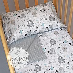 Детское постельное белье в кроватку для новорожденных, комплект в детскую кроватку Мишки, лисички, зайчики
